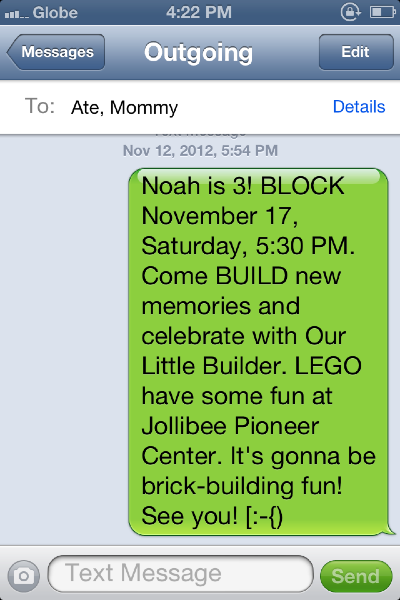 Invitations Via Text Message LEGO Theme Birthday Party